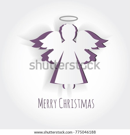 Vector Christmas Angel Paper Carving Silhouette Stock Vector ...