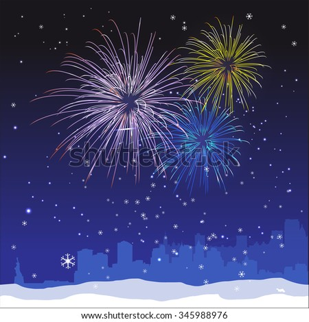 Vector Christmas ans New Year  New York background with fireworks and snow - stock vector
