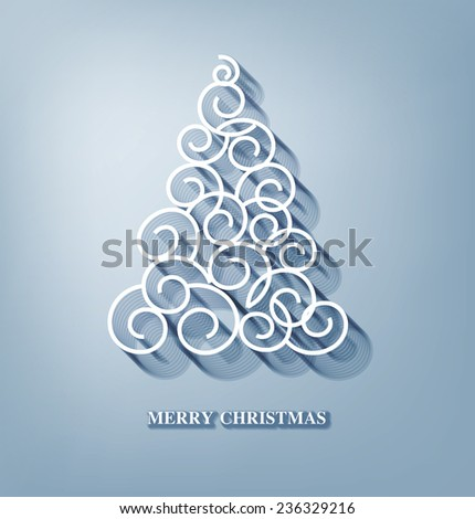 Vector Christmas background with Christmas tree - stock vector