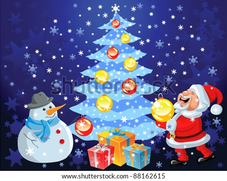 vector Christmas background with Christmas tree, snowflakes, toys, gifts, decorations, happy cartoon Santa Claus and funny snowman - stock vector