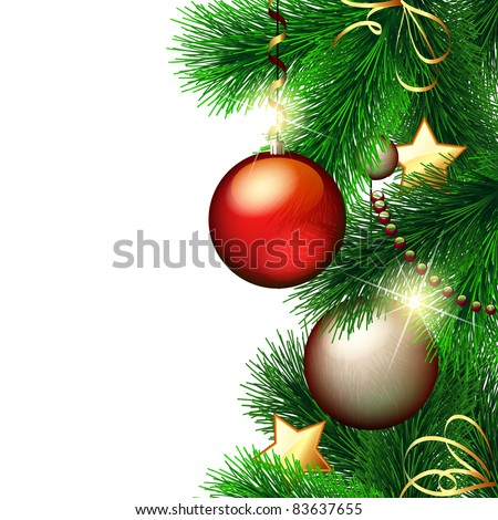 Vector Christmas background with decorated Christmas tree - stock vector