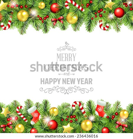 Vector Christmas Background with Garland  - stock vector