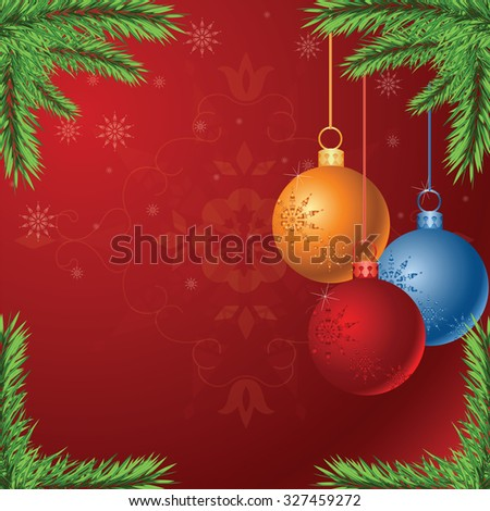 Vector Christmas background with glossy balls EPS10