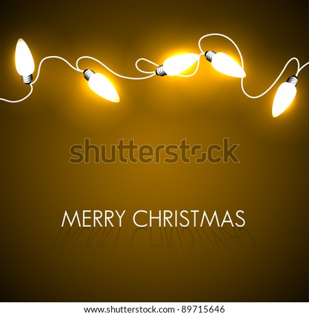 Vector Christmas background with golden christmas chain lights - stock vector
