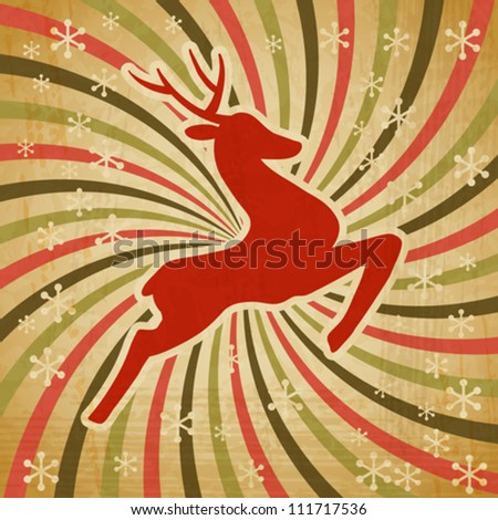 Vector Christmas background with jumping stylized deer. - stock vector