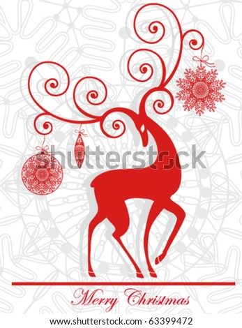 Vector Christmas background with red graceful reindeer - stock vector