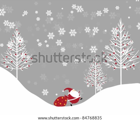 vector christmas background with santa - stock vector