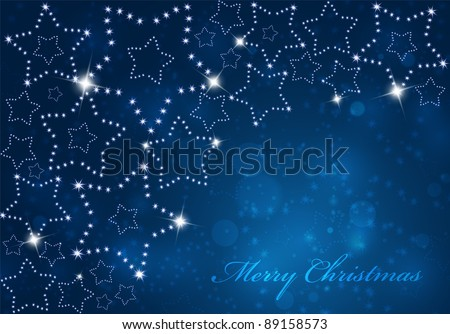Vector christmas background with shinning stars. - stock vector
