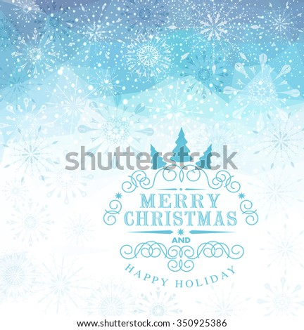 vector Christmas background with snowflakes and snow - stock vector