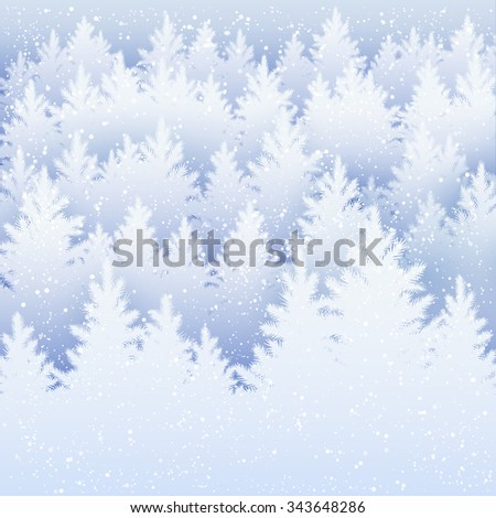 Vector Christmas background with winter spruce forest silhouette and falling snow.