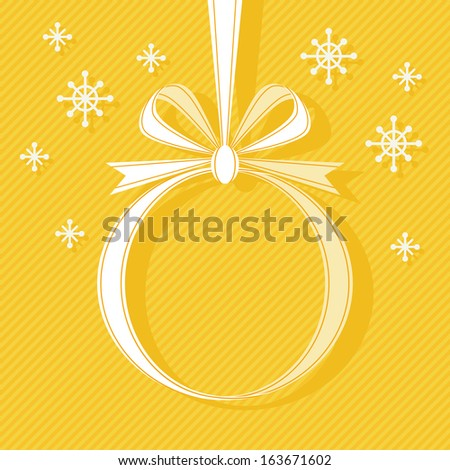 Vector Christmas ball made from ribbon with bow, snowflakes. Modern yellow background with text box for presentation. Original festive invitation, greeting card. Drawing decorative illustration  - stock vector