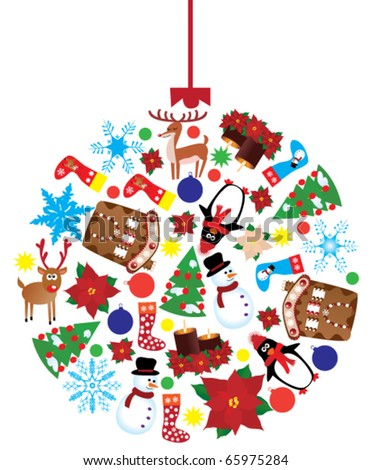 vector christmas ball made of different x-mas elements - stock vector