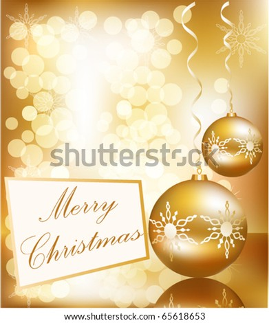 Vector Christmas ball on abstract golden lights background - stock vector
