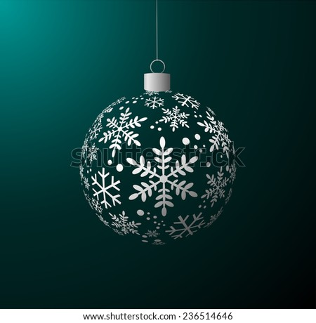 Vector Christmas ball on green background - stock vector