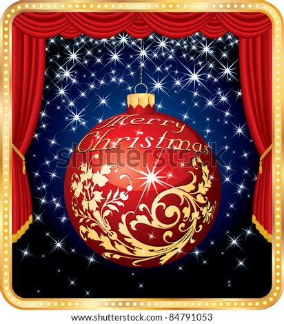vector Christmas ball on stage - stock vector