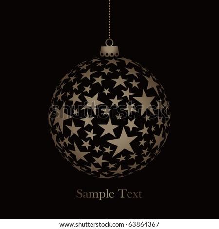 vector christmas ball with stars - stock vector