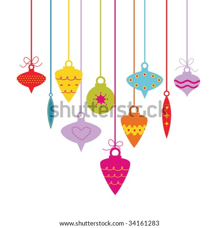 vector Christmas balls(hanging)