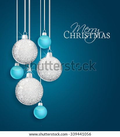 Vector Christmas balls on a blue background - stock vector