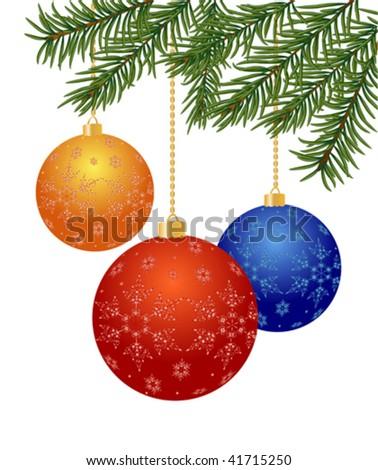 vector Christmas balls with Christmas tree branch   - stock vector