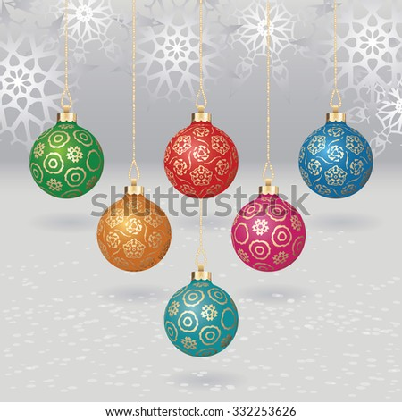 Vector christmas balls with gold design on light background with flakes - stock vector