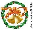 Vector christmas bells and a holly wreath - stock vector