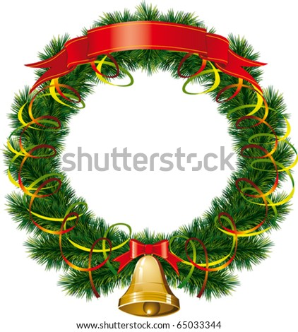 vector christmas bells with christmas tree decorations - stock vector