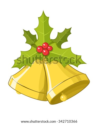 Vector Christmas bells with Holly berries, isolated on white background, eps10  - stock vector