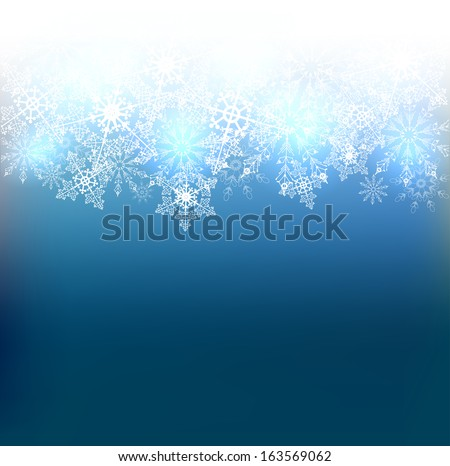 Vector Christmas blue background with white snowflakes. Vector design - stock vector