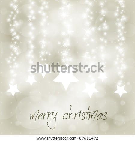 Vector Christmas Blurry Background with Falling Stars and Snowflakes - stock vector
