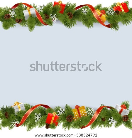 Vector Christmas Border with Gifts - stock vector
