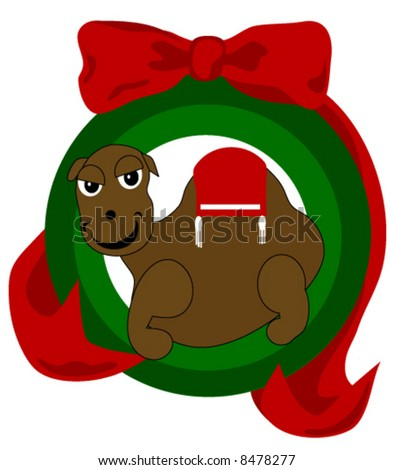 "Vector ""Christmas Camel Ornament"" is adorned in an ornament style frame and beautiful ribbon."