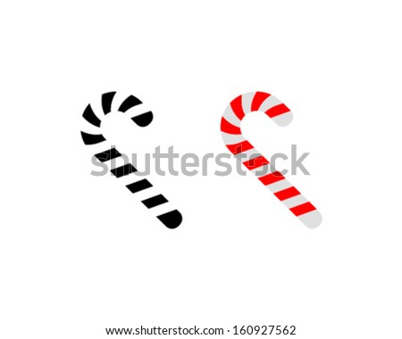 Vector Christmas Candy Cane Icon Symbol Set - stock vector