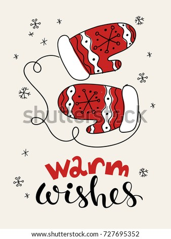 Vector christmas card greeting card cartoon stock vector royalty vector christmas card greeting card with cartoon pair of gloves warm wishes lettering m4hsunfo