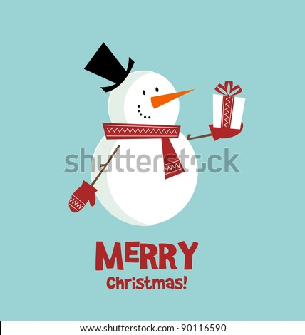 Vector christmas card snowman with a gift - stock vector