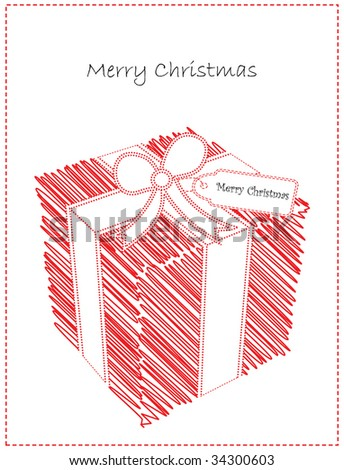 Vector Christmas Card with Cute Doodled Gift - stock vector