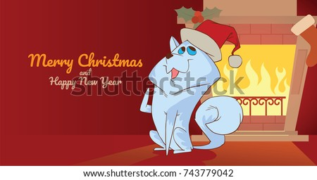 Vector Christmas card with fireplace, sock, mistletoe and with cartoon image of a cute white dog in a red Santa's hat sitting and smiling on a red background. Christmas, New Year, holiday.