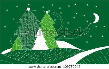 Vector Christmas Card with Four Christmas Trees as a Metaphor of Family of Four - stock vector
