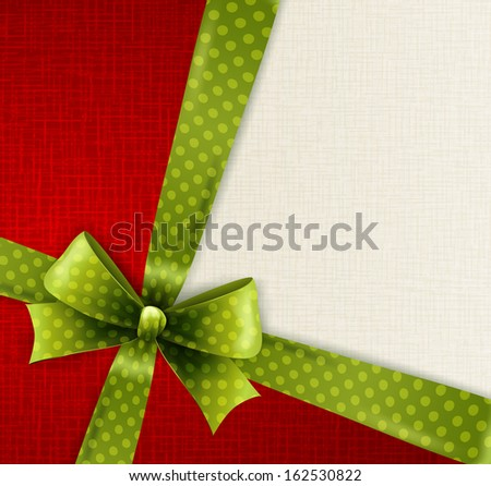 Vector Christmas card with green polka dots bow - stock vector