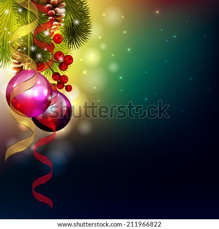 vector christmas card with ornaments and pine tree - stock vector