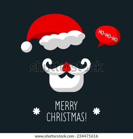 Vector Christmas card with Santa Claus and text Merry Christmas in trendy flat style - stock vector