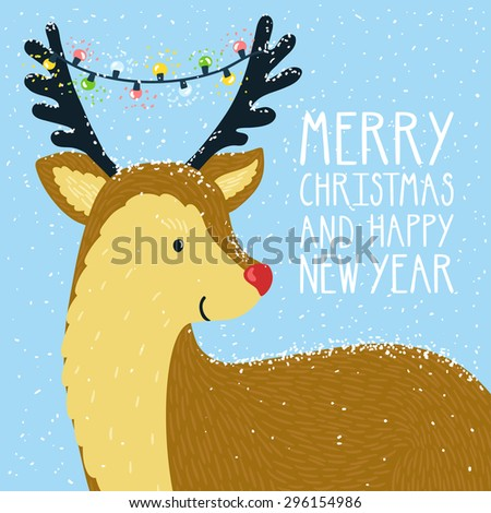 "Vector christmas card with smiling cute reindeer and garland on his horns. Holiday background with hand drawing cartoon character, text ""Merry christmas and happy new year"". Winter backdrop with deer. - stock vector"