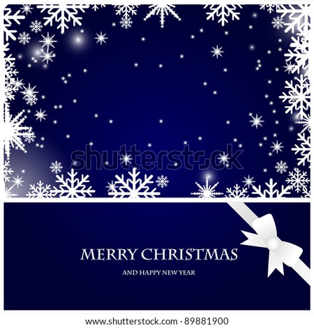 vector christmas card with snowflakes and bow on the dark blue background - stock vector