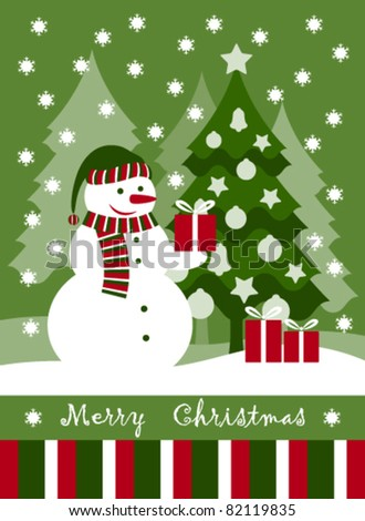 vector Christmas card with snowman, Christmas tree and gifts - stock vector