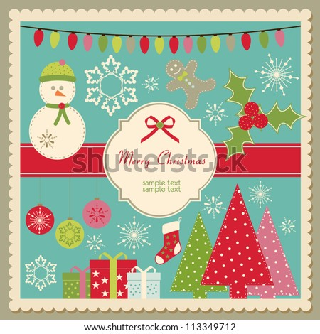 Vector Christmas card with space for custom text - stock vector
