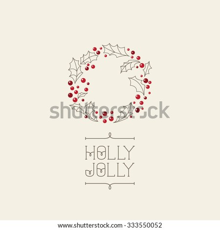 Vector Christmas card with wreath. Perfect design for posters, flyers,  banners, cards. Xmas design. - stock vector