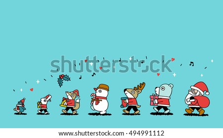 Vector Christmas characters. Fox, penguin, rabbit, snowman, bear, santa,deer