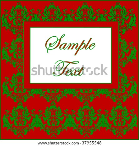 Vector Christmas Damask With Copy Space - stock vector