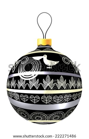 Vector Christmas decoration made from tribal shapes. Original circle design element.  Simple decorative illustration for print. - stock vector