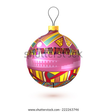 Vector Christmas decoration made from tribal shapes. Original design element.  Simple decorative color illustration for print. - stock vector