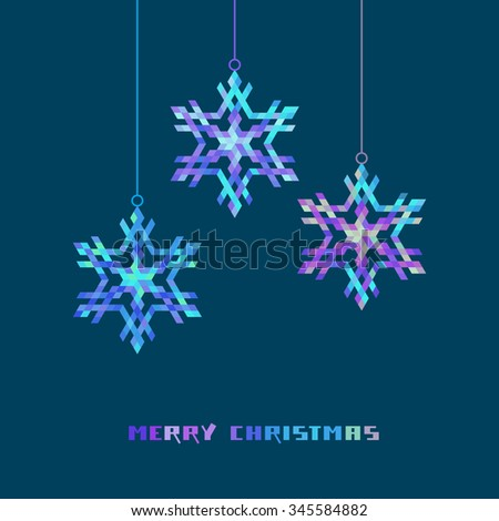 Vector Christmas decoration - snowflakes. Winter original design element. Festive greeting, invitation card. Decorative Illustration for print, web - stock vector